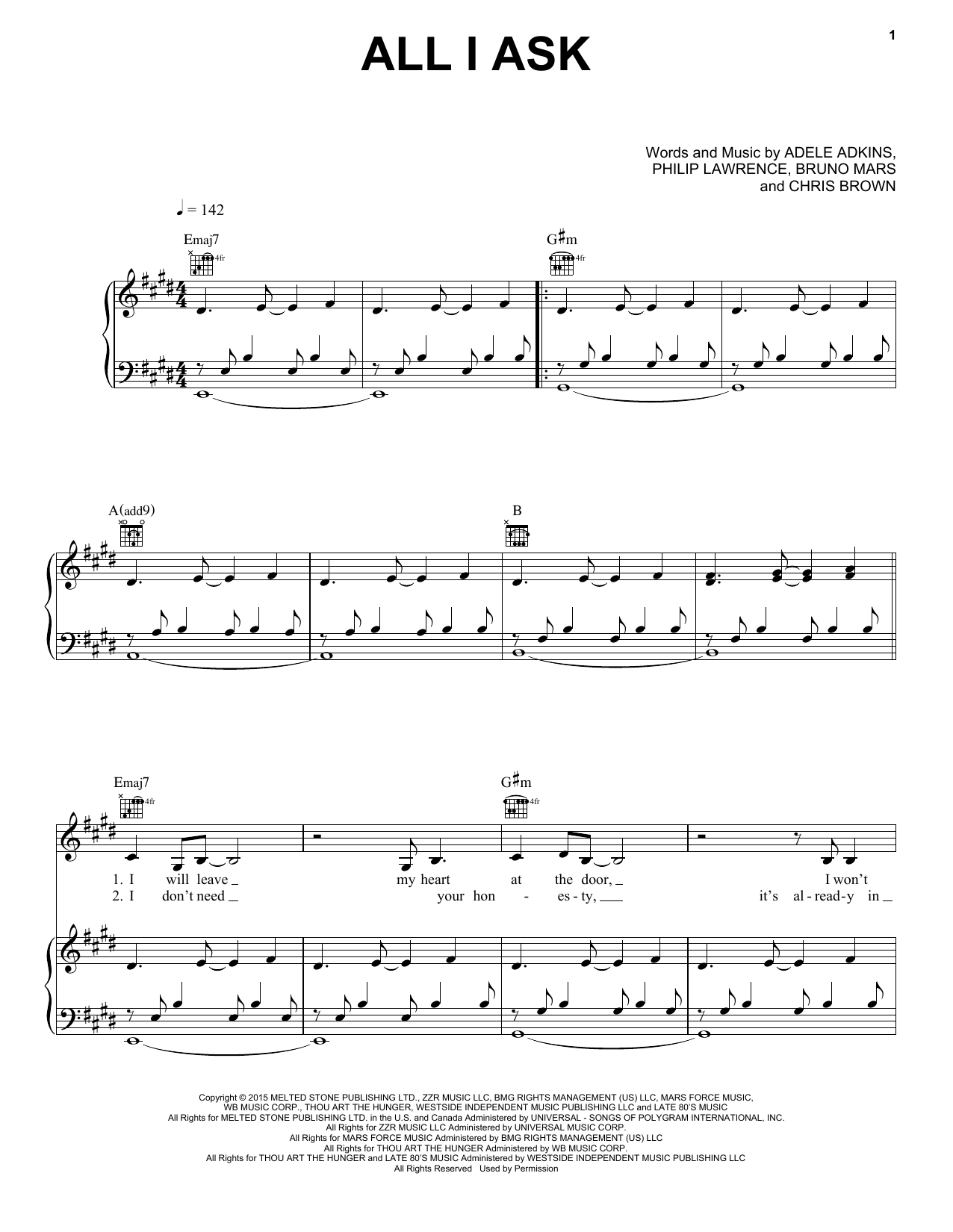 Download Adele 'All I Ask' Digital Sheet Music Notes & Chords and start playing in minutes