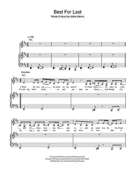 Download Adele 'Best For Last' Digital Sheet Music Notes & Chords and start playing in minutes