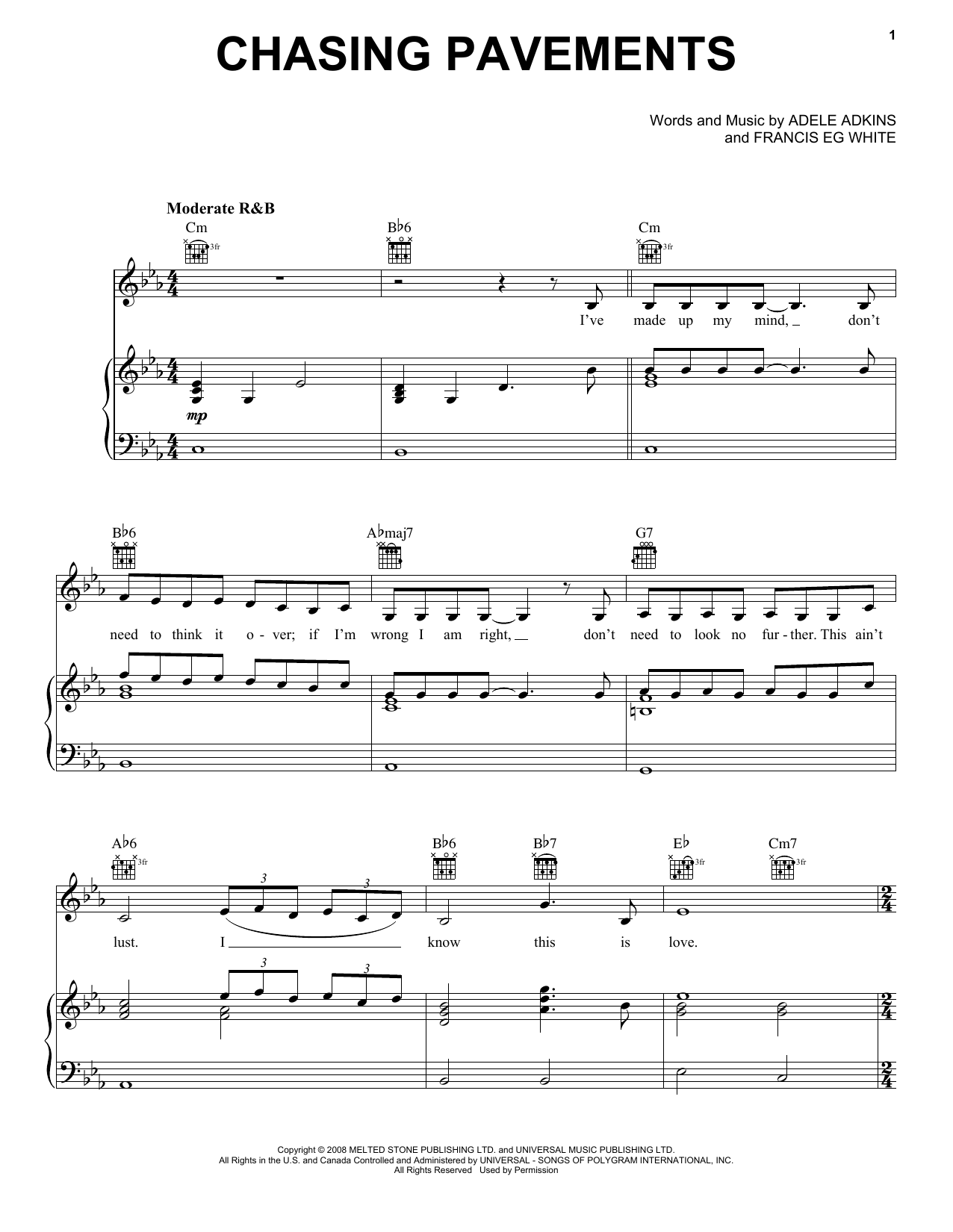 Download Adele 'Chasing Pavements' Digital Sheet Music Notes & Chords and start playing in minutes
