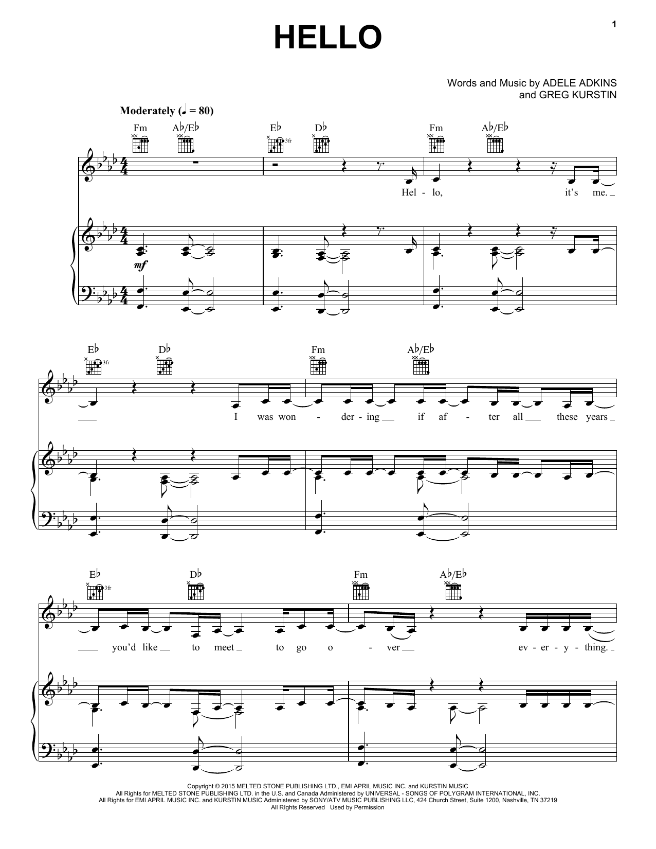 Download Adele 'Hello' Digital Sheet Music Notes & Chords and start playing in minutes