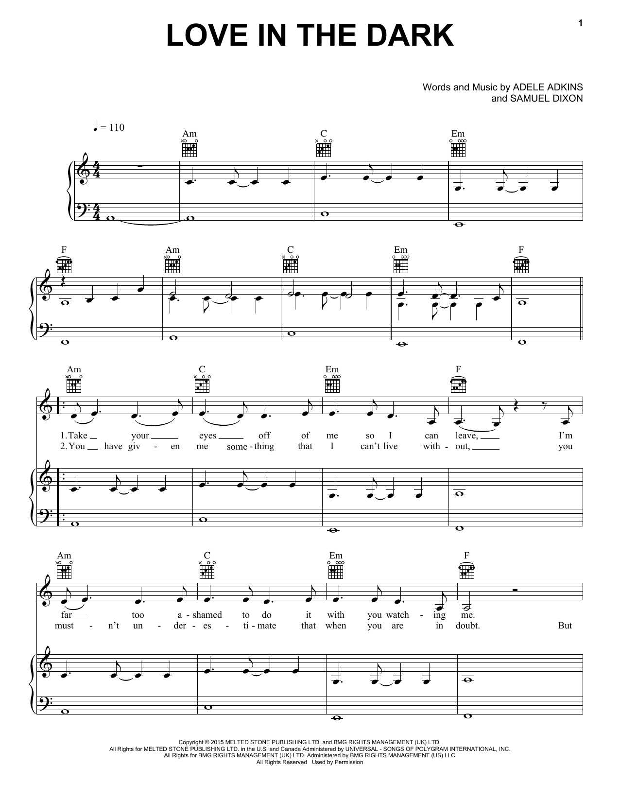 Download Adele 'Love In The Dark' Digital Sheet Music Notes & Chords and start playing in minutes