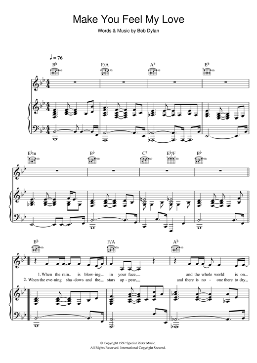Download Adele 'Make You Feel My Love' Digital Sheet Music Notes & Chords and start playing in minutes