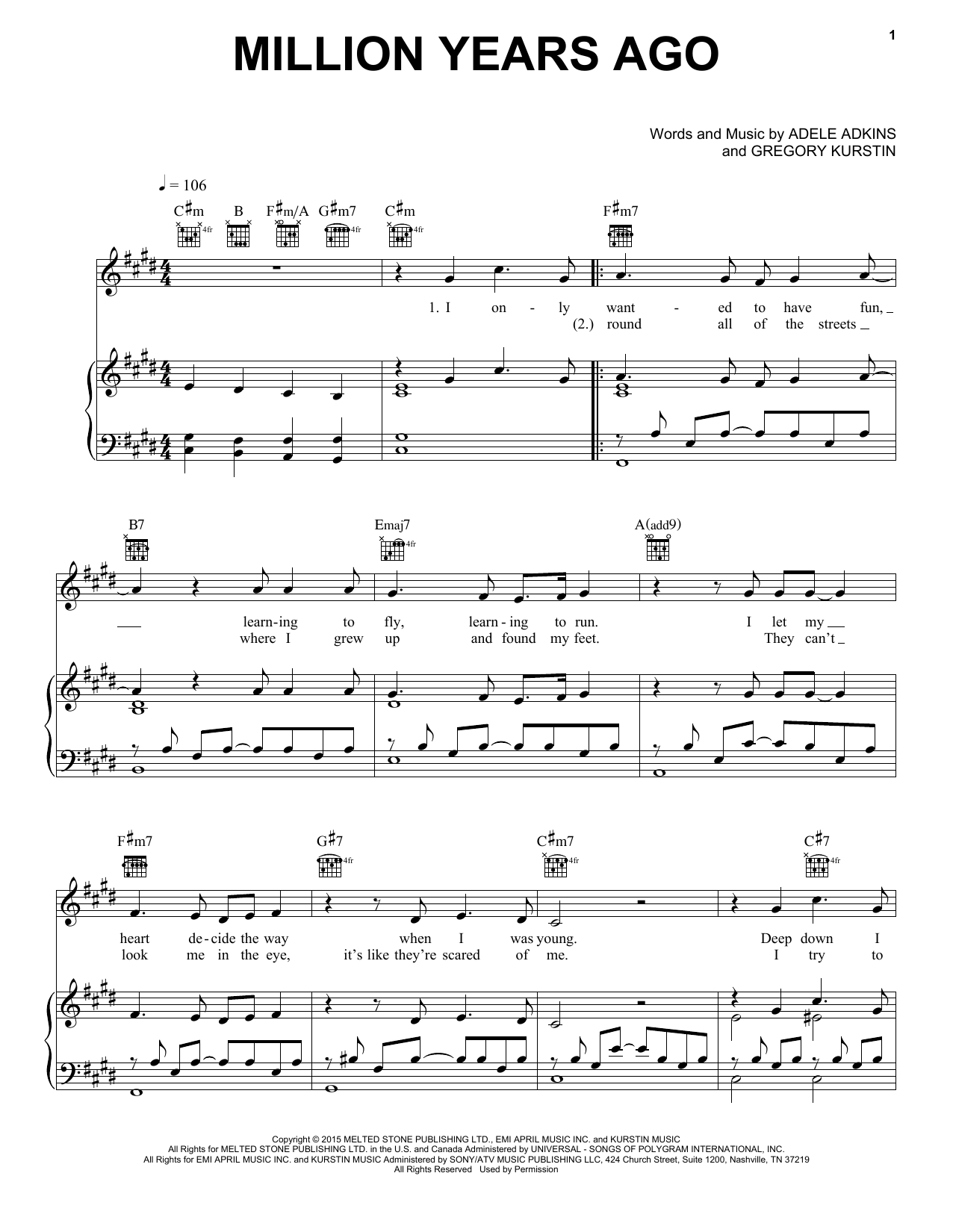 Download Adele 'Million Years Ago' Digital Sheet Music Notes & Chords and start playing in minutes