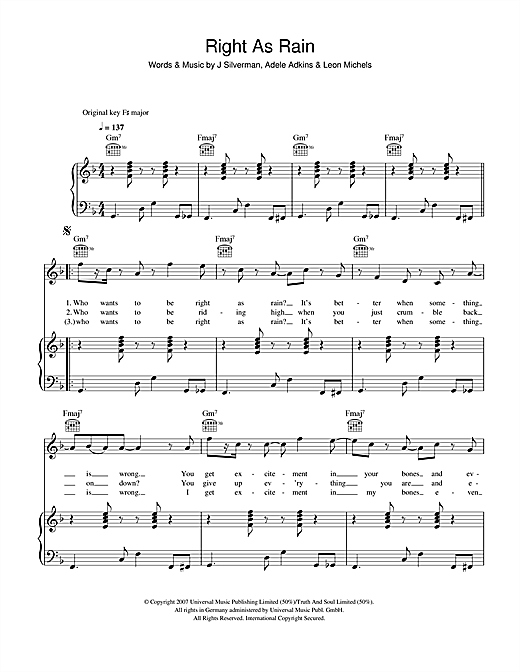 Download Adele 'Right As Rain' Digital Sheet Music Notes & Chords and start playing in minutes