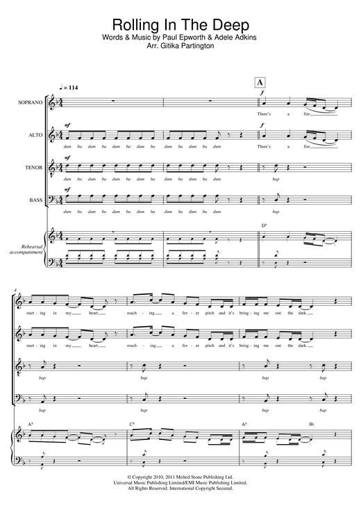 Download Adele 'Rolling In The Deep (arr. Gitika Partington)' Digital Sheet Music Notes & Chords and start playing in minutes