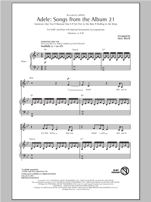 Download Adele 'Rolling In The Deep (arr. Mac Huff)' Digital Sheet Music Notes & Chords and start playing in minutes