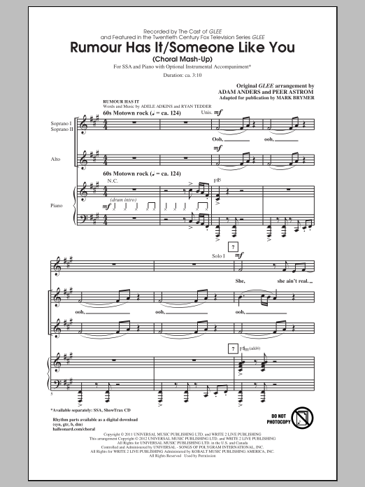 Download Adele 'Rumour Has It / Someone Like You (arr. Mark Brymer)' Digital Sheet Music Notes & Chords and start playing in minutes
