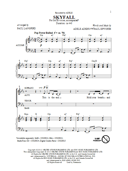 Download Paul Langford 'Skyfall' Digital Sheet Music Notes & Chords and start playing in minutes