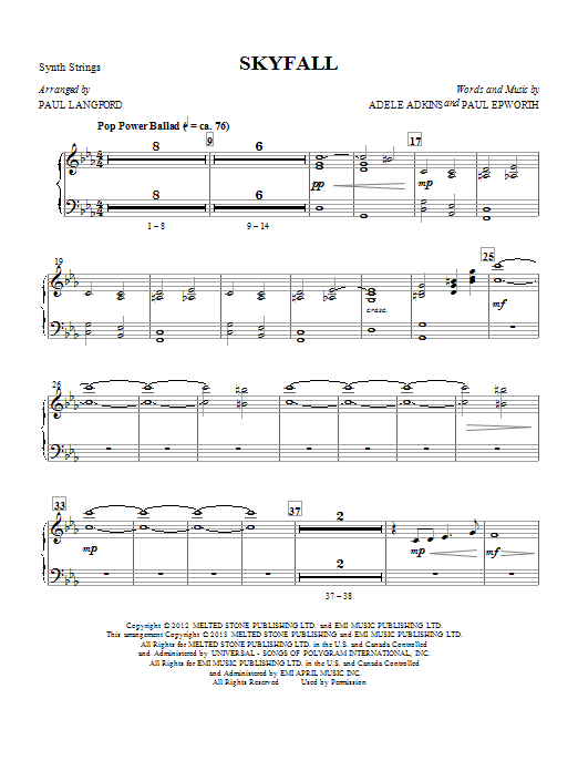 Adele Skyfall (arr. Paul Langford) - Strings (Synth) sheet music notes and chords
