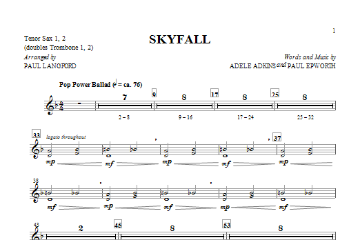 Adele Skyfall (arr. Paul Langford) - Tenor Sax 1 & 2 sheet music notes and chords