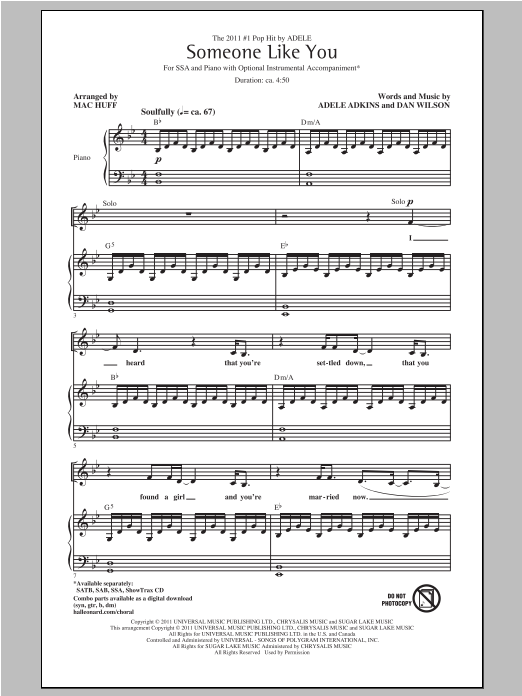Download Adele 'Someone Like You (arr. Mac Huff)' Digital Sheet Music Notes & Chords and start playing in minutes