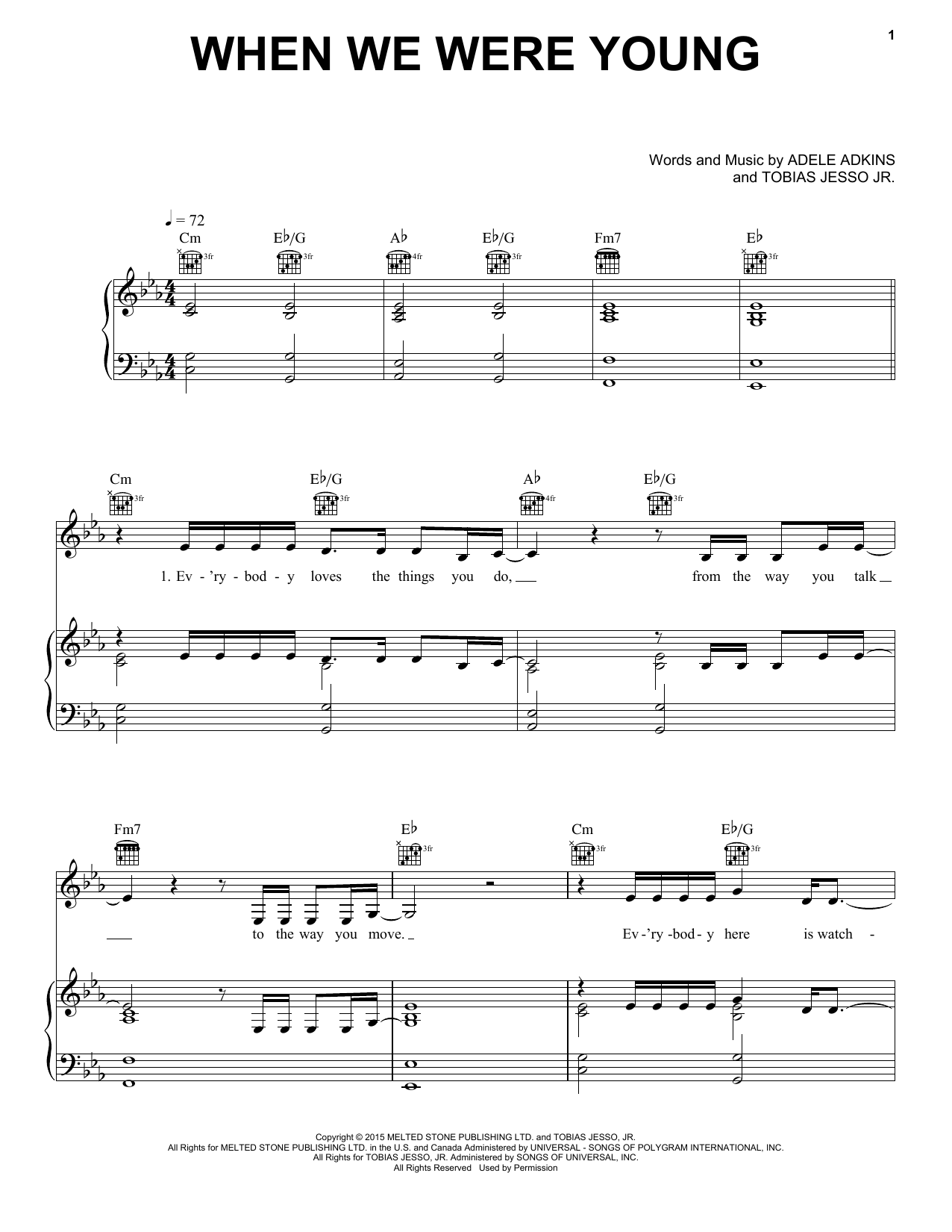 Download Adele 'When We Were Young' Digital Sheet Music Notes & Chords and start playing in minutes