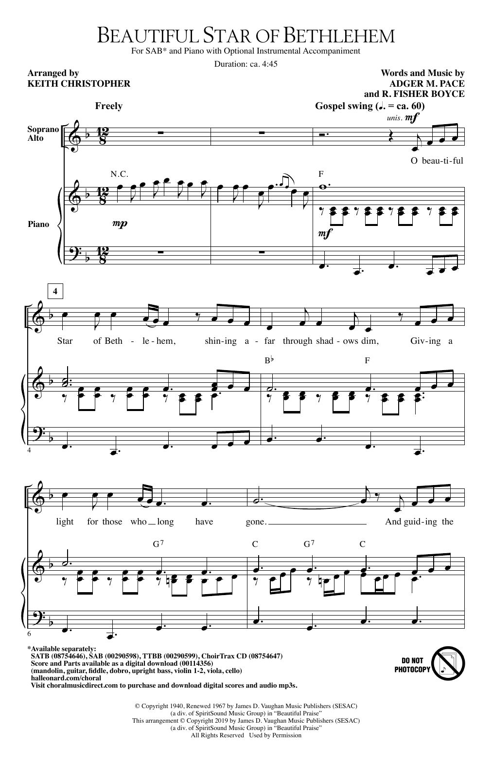 Download Adger M. Pace and R. Fisher Boyce 'Beautiful Star Of Bethlehem (arr. Keith Christopher)' Digital Sheet Music Notes & Chords and start playing in minutes