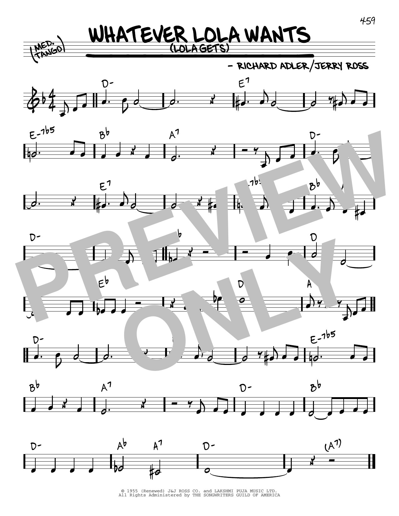 Download Adler & Ross 'Whatever Lola Wants (Lola Gets)' Digital Sheet Music Notes & Chords and start playing in minutes