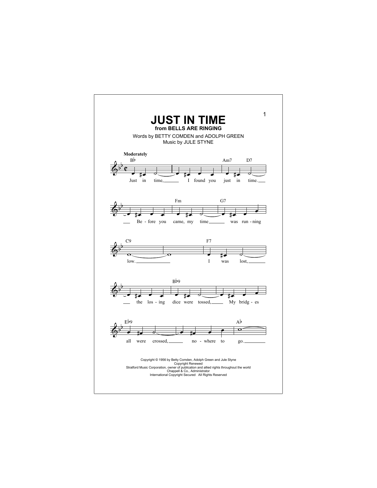 Download Adolph Green 'Just In Time' Digital Sheet Music Notes & Chords and start playing in minutes