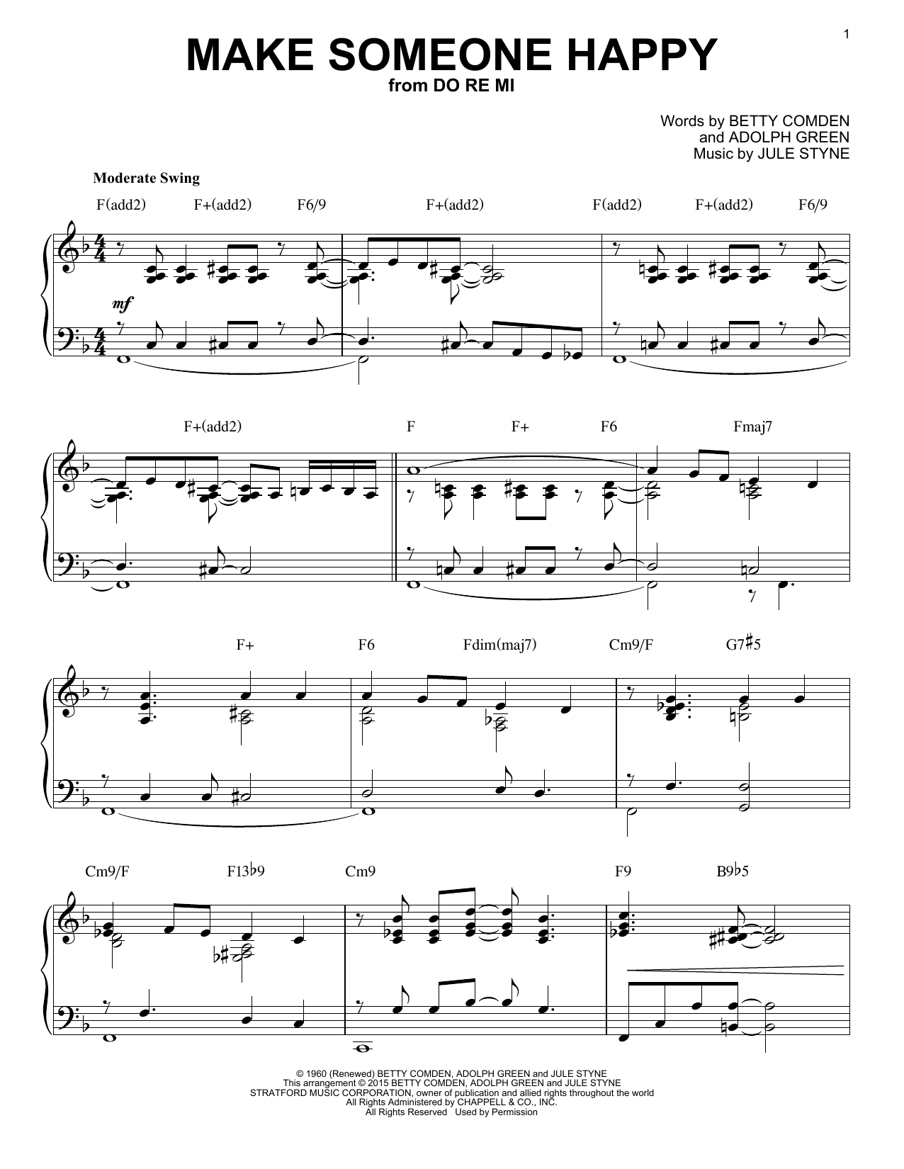 Download Jule Styne 'Make Someone Happy' Digital Sheet Music Notes & Chords and start playing in minutes