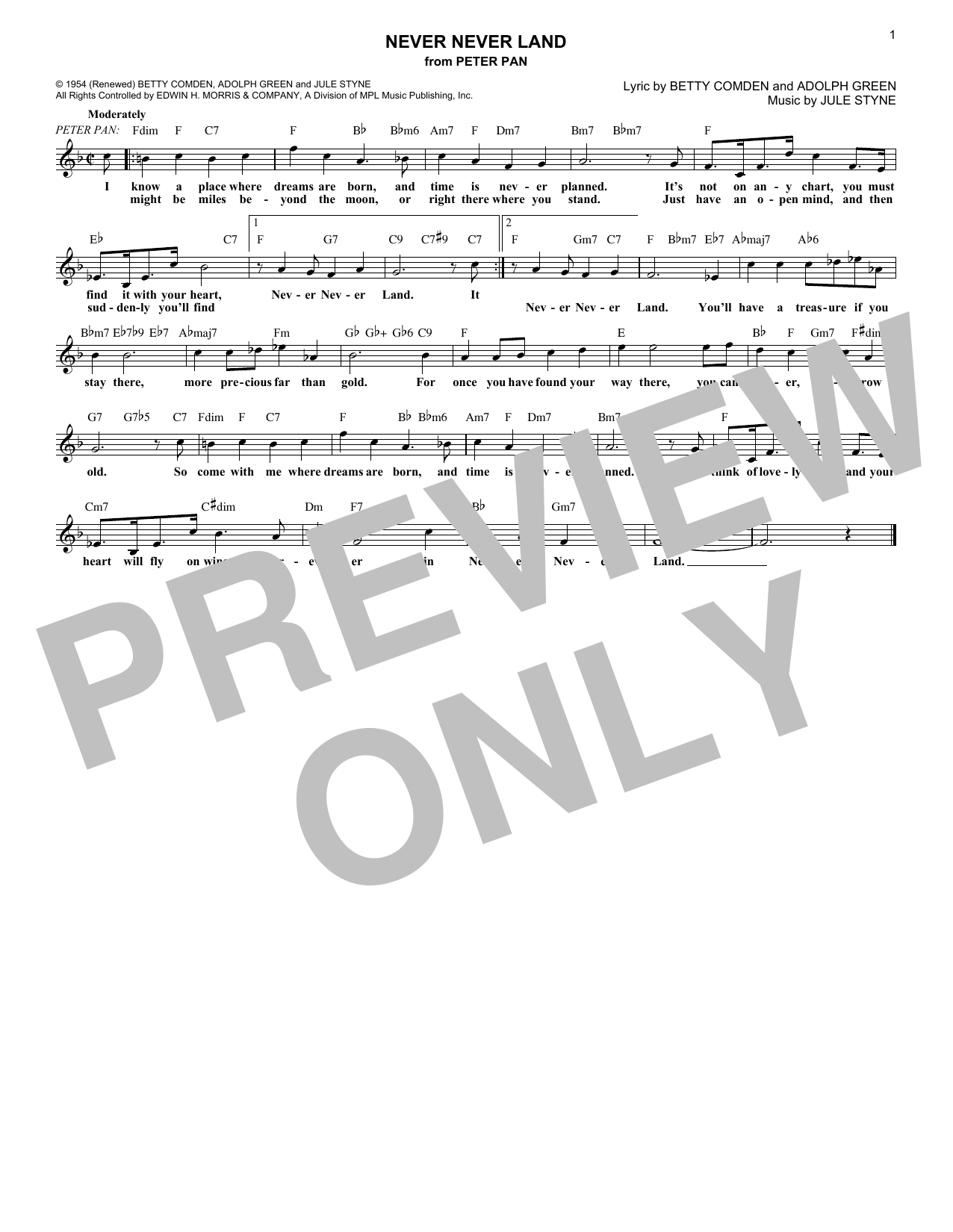 Download Adolph Green 'Never Never Land (from Peter Pan)' Digital Sheet Music Notes & Chords and start playing in minutes