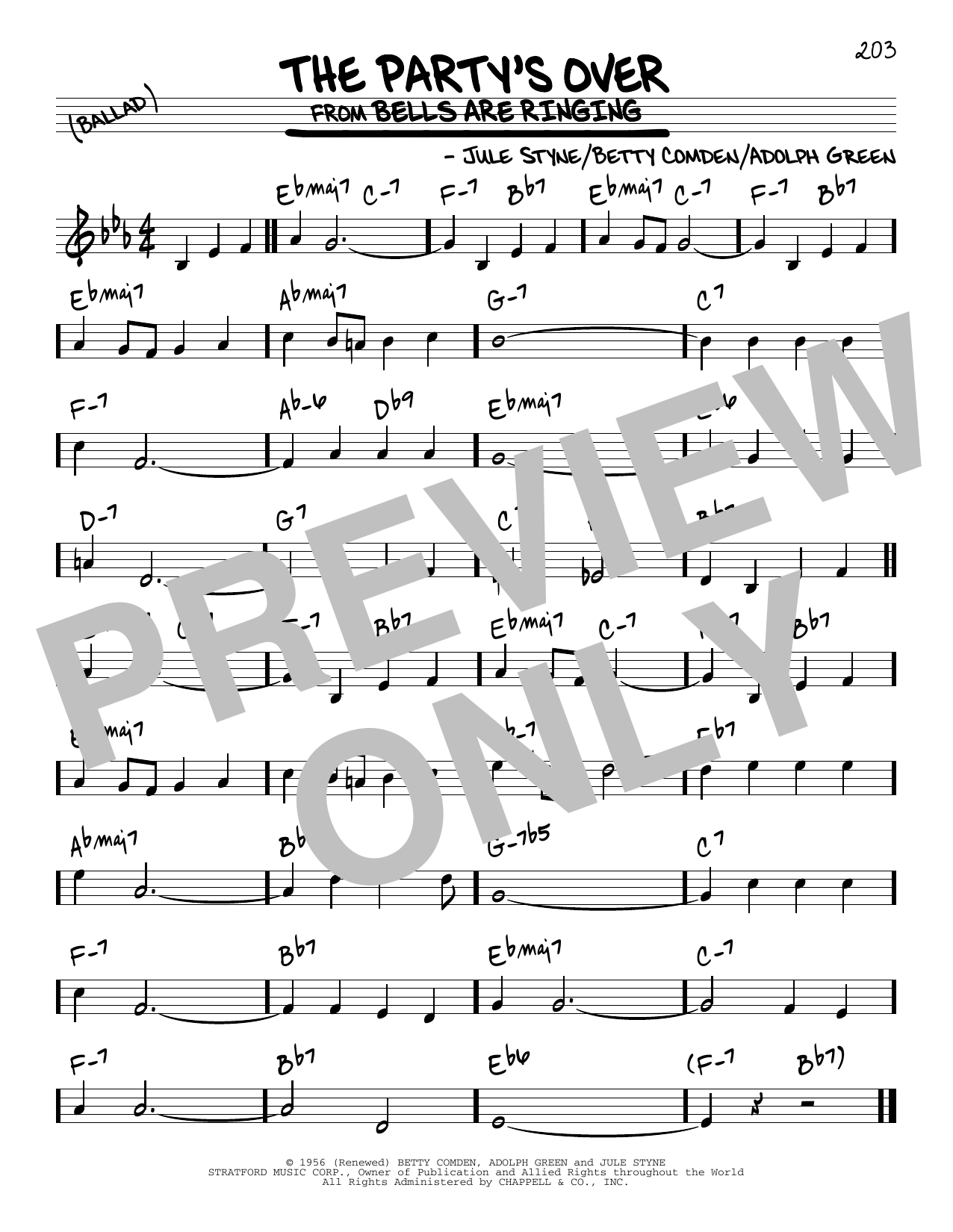 Download Adolph Green 'The Party's Over' Digital Sheet Music Notes & Chords and start playing in minutes