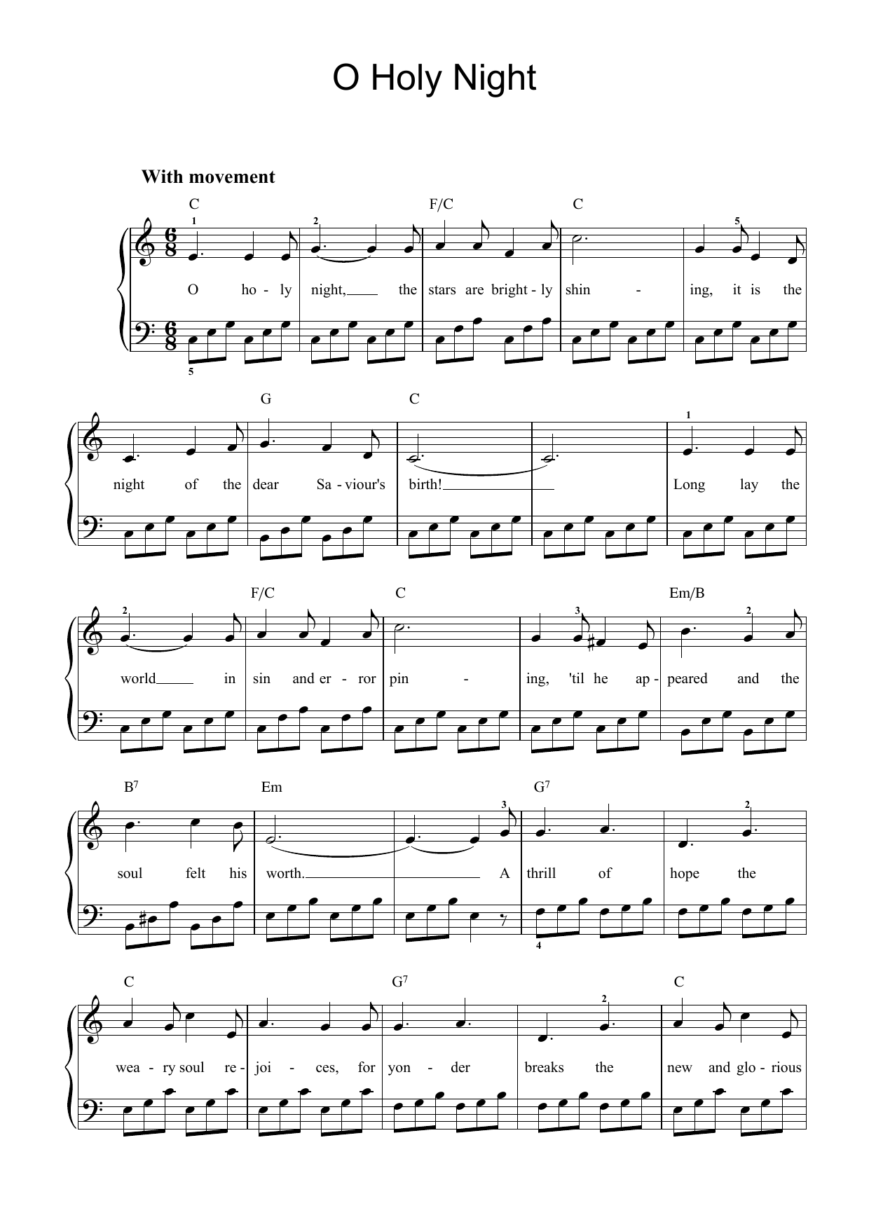 Adolphe Adam O Holy Night sheet music preview music notes and score for Piano including 7 page(s)