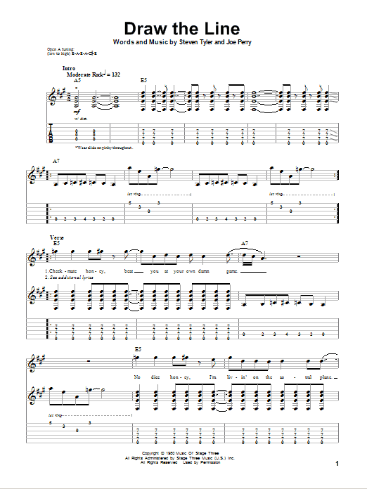 Download Aerosmith 'Draw The Line' Digital Sheet Music Notes & Chords and start playing in minutes