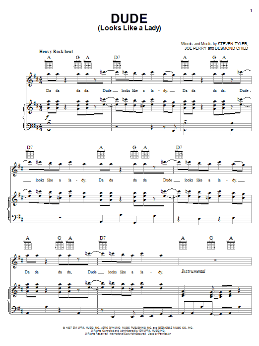 Aerosmith Dude (Looks Like A Lady) sheet music notes and chords