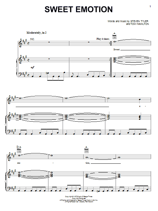 Aerosmith Sweet Emotion sheet music notes and chords