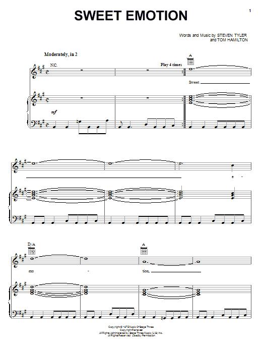 Aerosmith Sweet Emotion sheet music notes and chords