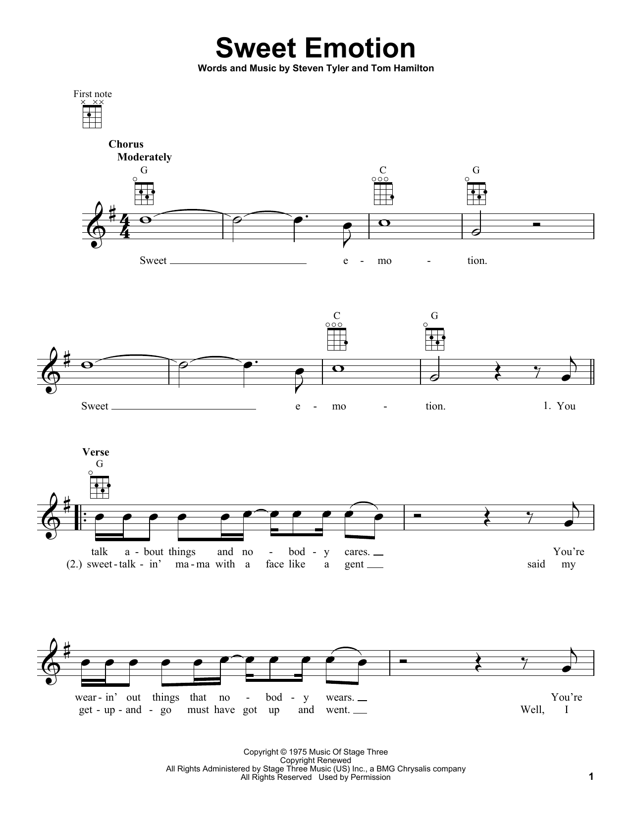 Aerosmith Sweet Emotion sheet music preview music notes and score for Lyrics & Chords including 2 page(s)
