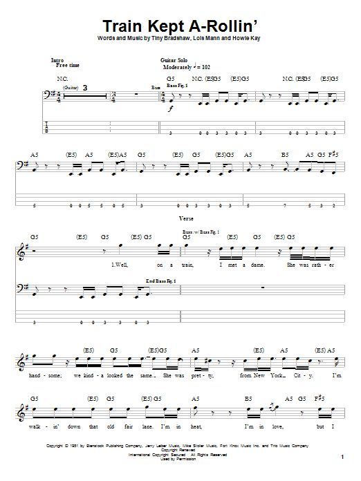Aerosmith Train Kept A-Rollin' sheet music preview music notes and score for Easy Guitar Tab including 8 page(s)