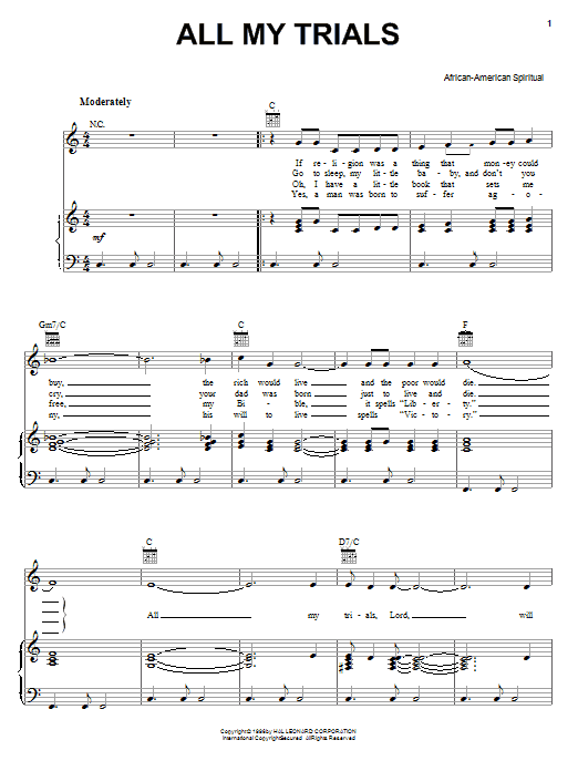 African-American Spiritual All My Trials sheet music preview music notes and score for Piano, Vocal & Guitar (Right-Hand Melody) including 2 page(s)