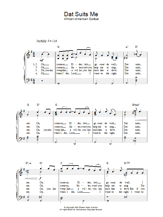 African-American Spiritual Dat Suits Me sheet music preview music notes and score for Piano & Vocal including 2 page(s)