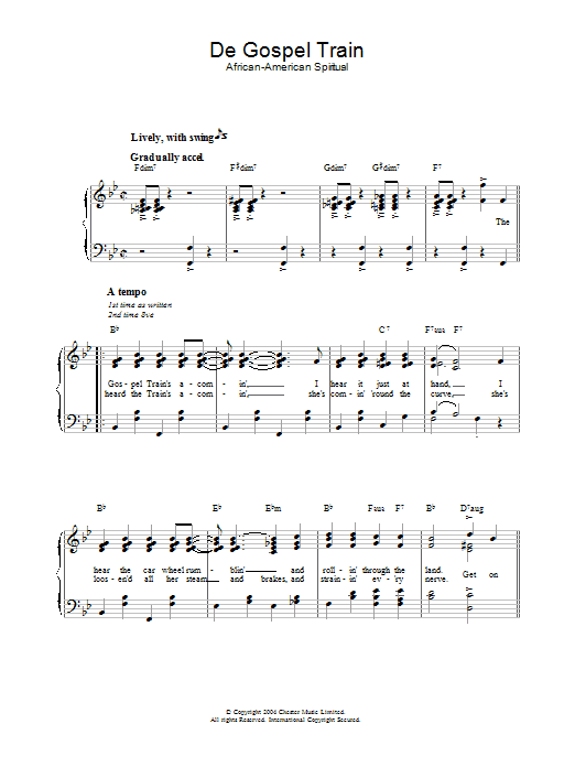 African-American Spiritual De Gospel Train sheet music preview music notes and score for Piano & Vocal including 3 page(s)