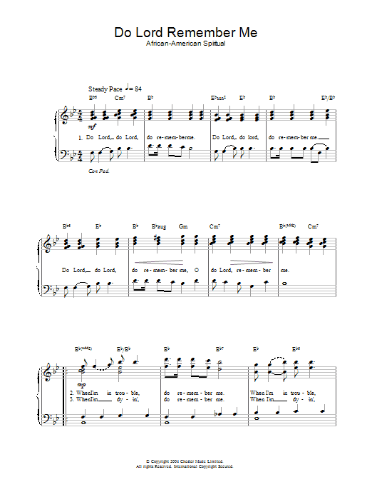 African-American Spiritual Do Lord Remember Me sheet music preview music notes and score for Piano & Vocal including 2 page(s)