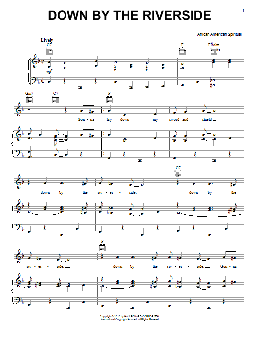 African-American Spiritual Down By The Riverside sheet music preview music notes and score for Easy Piano including 3 page(s)