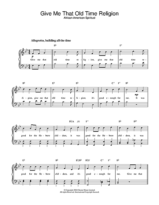 Download African-American Spiritual 'Give Me That Old Time Religion' Digital Sheet Music Notes & Chords and start playing in minutes