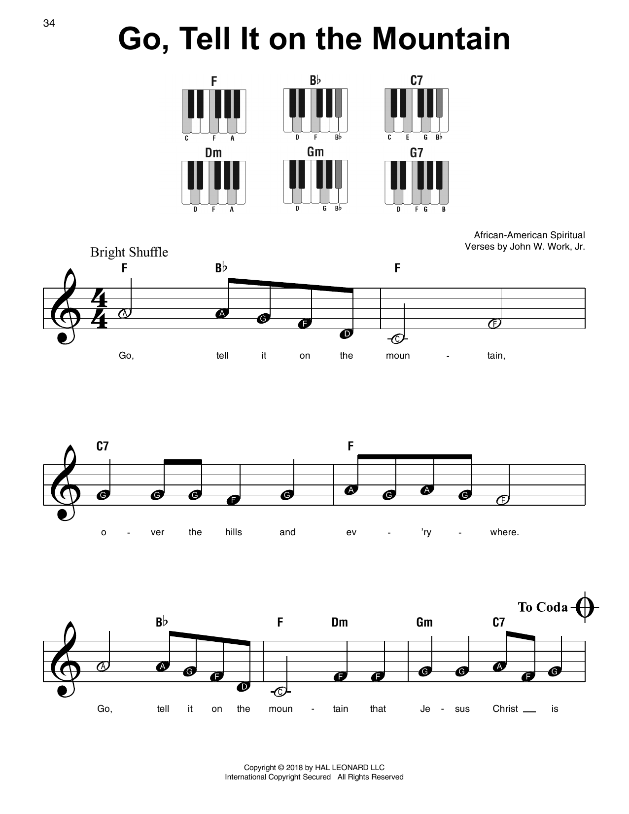 Download African-American Spiritual 'Go, Tell It On The Mountain' Digital Sheet Music Notes & Chords and start playing in minutes