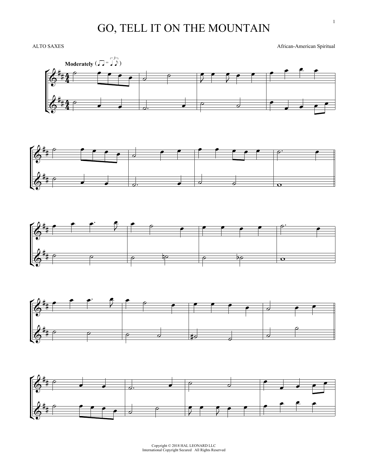 African-American Spiritual Go, Tell It On The Mountain sheet music preview music notes and score for Guitar Tab including 2 page(s)