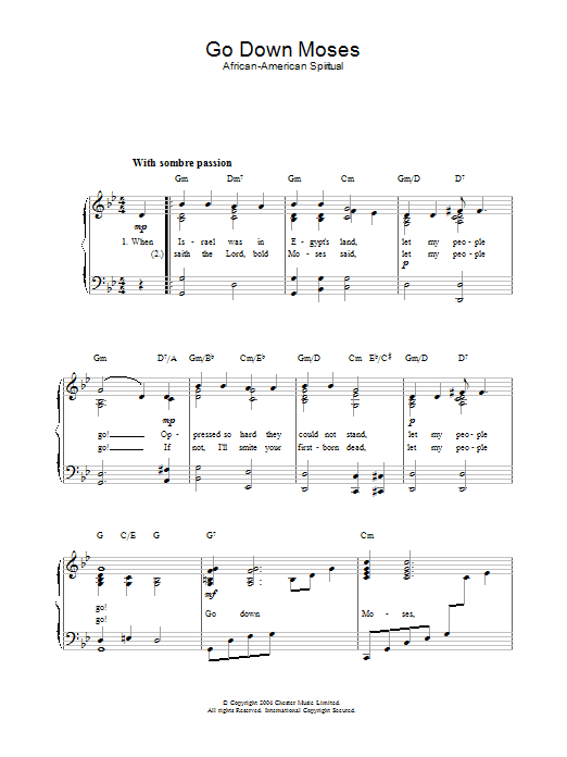 Traditional Go Down Moses sheet music preview music notes and score for Ukulele with strumming patterns including 2 page(s)