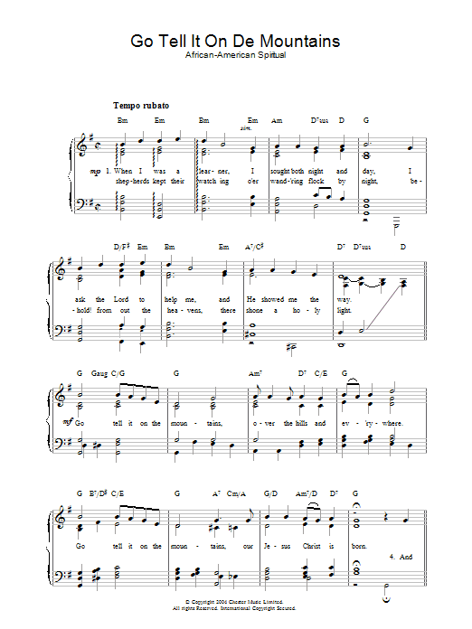 African-American Spiritual Go Tell It On De Mountains sheet music preview music notes and score for Piano & Vocal including 2 page(s)