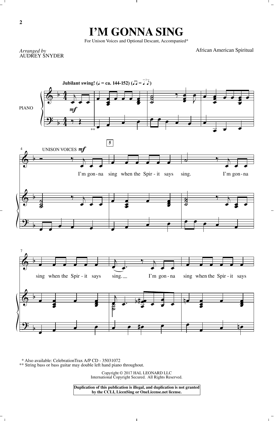 Download African-American Spiritual 'I'm Gonna Sing (arr. Audrey Snyder)' Digital Sheet Music Notes & Chords and start playing in minutes