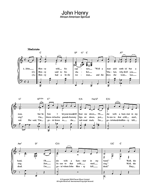 Download West Virginia Folksong 'John Henry' Digital Sheet Music Notes & Chords and start playing in minutes