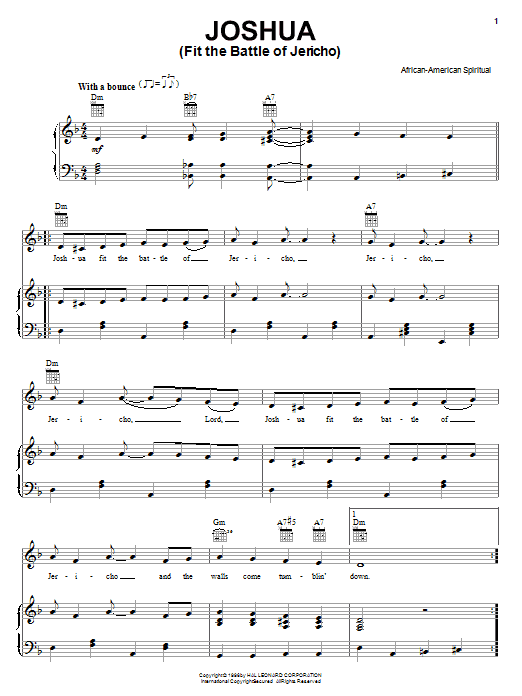 African-American Spiritual Joshua (Fit The Battle Of Jericho) sheet music preview music notes and score for Piano, Vocal & Guitar (Right-Hand Melody) including 4 page(s)
