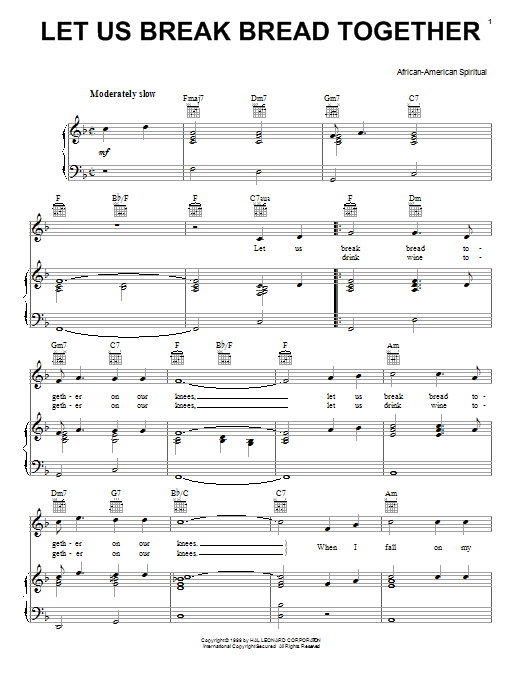 African-American Spiritual Let Us Break Bread Together sheet music notes and chords