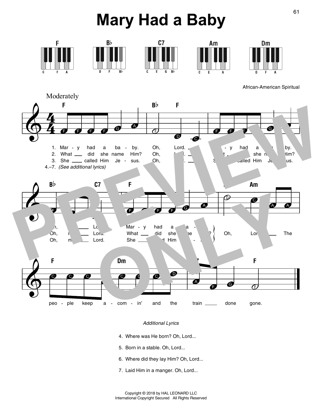 Download African-American Spiritual 'Mary Had A Baby' Digital Sheet Music Notes & Chords and start playing in minutes