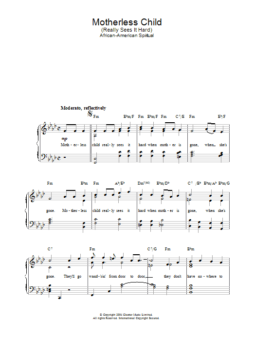 African-American Spiritual Motherless Child sheet music preview music notes and score for Piano & Vocal including 2 page(s)