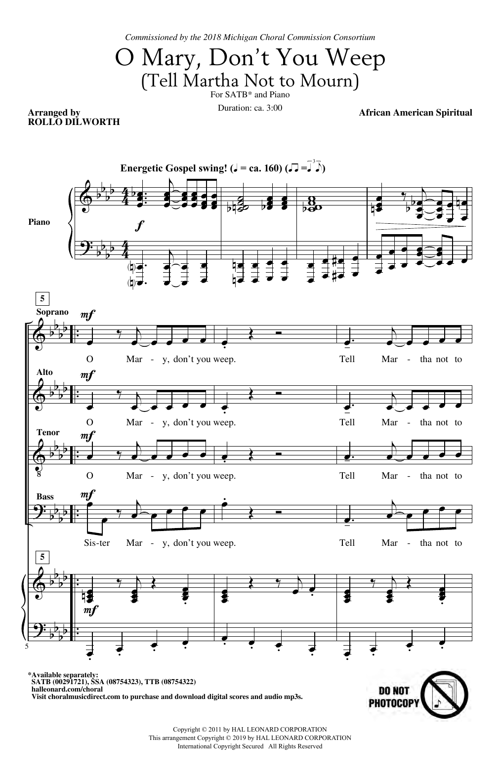 Download African-American Spiritual 'O Mary, Don't You Weep (Tell Martha Not to Mourn) (arr. Rollo Dilworth)' Digital Sheet Music Notes & Chords and start playing in minutes