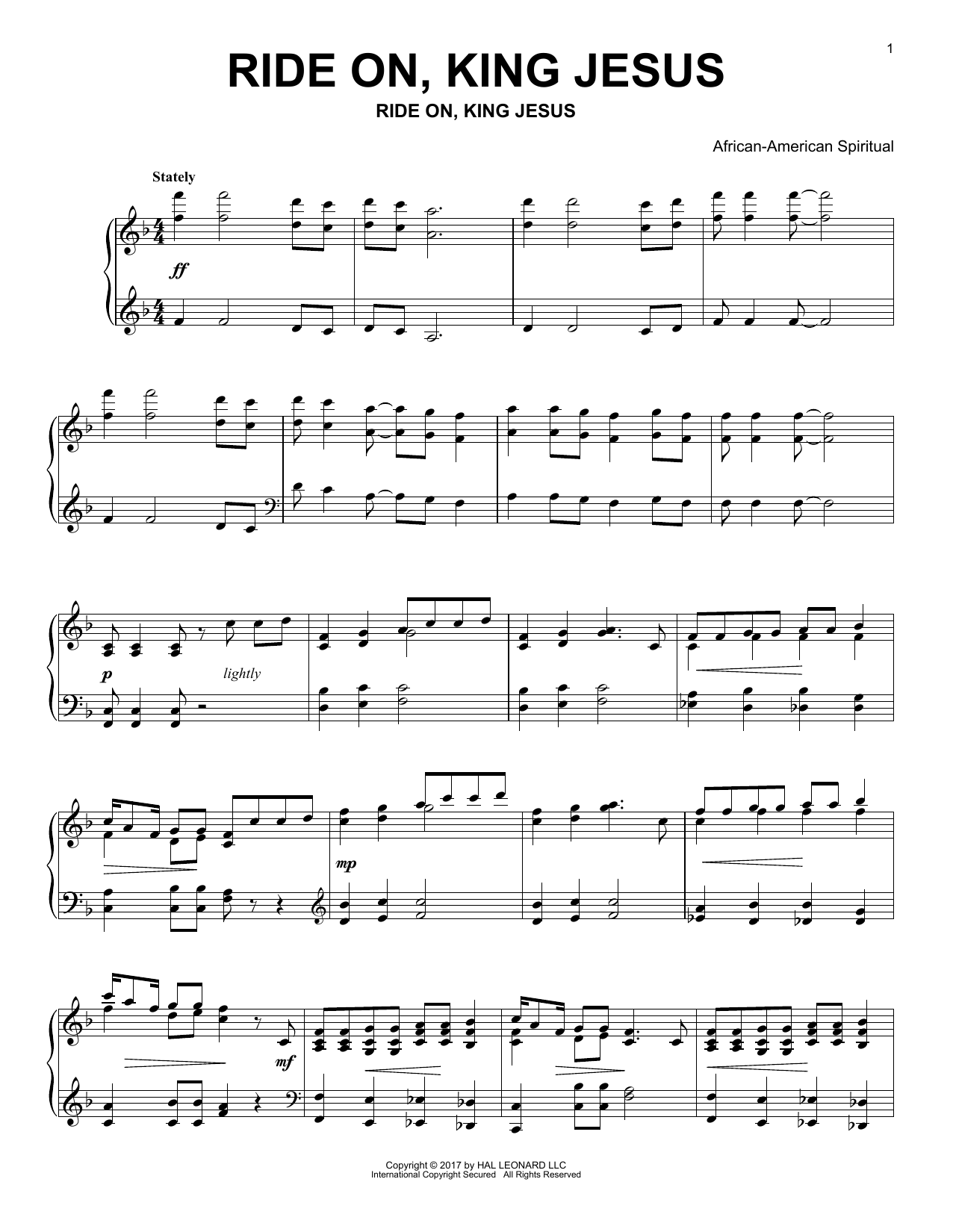 Download African-American Spiritual 'Ride On, King Jesus' Digital Sheet Music Notes & Chords and start playing in minutes