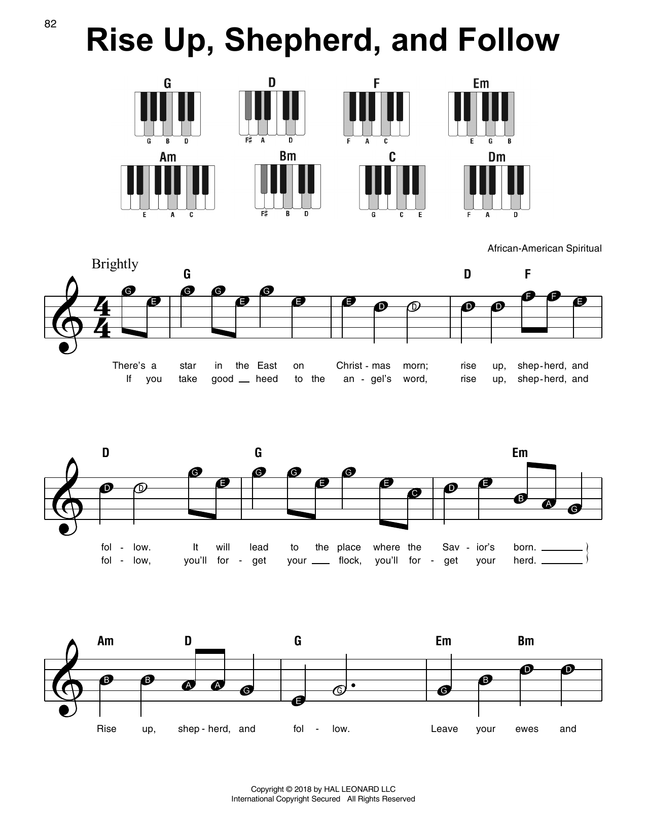 African-American Spiritual Rise Up, Shepherd, And Follow sheet music notes and chords