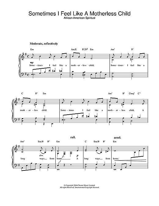 Download African-American Spiritual 'Sometimes I Feel Like A Motherless Child' Digital Sheet Music Notes & Chords and start playing in minutes