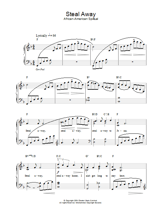 African-American Spiritual Steal Away sheet music preview music notes and score for Piano & Vocal including 2 page(s)